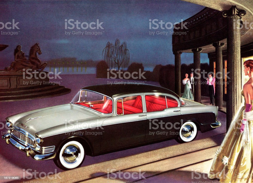 People Standing Around Fancy Car royalty-free stock vector art