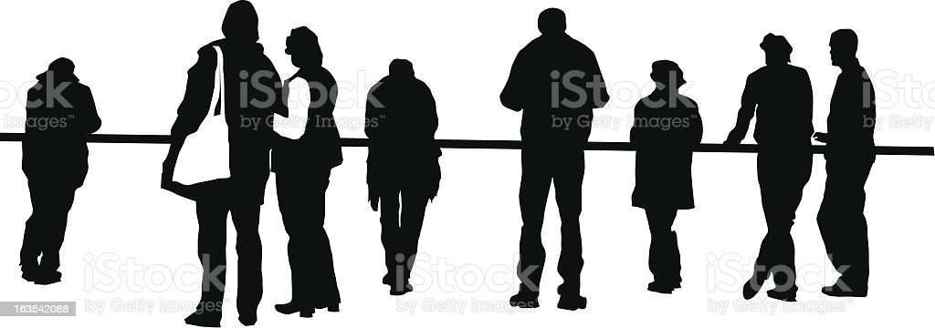 People standing at a lookout point royalty-free stock vector art