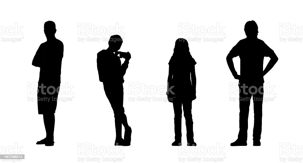 people standing outdoor silhouettes set 24 vector art illustration