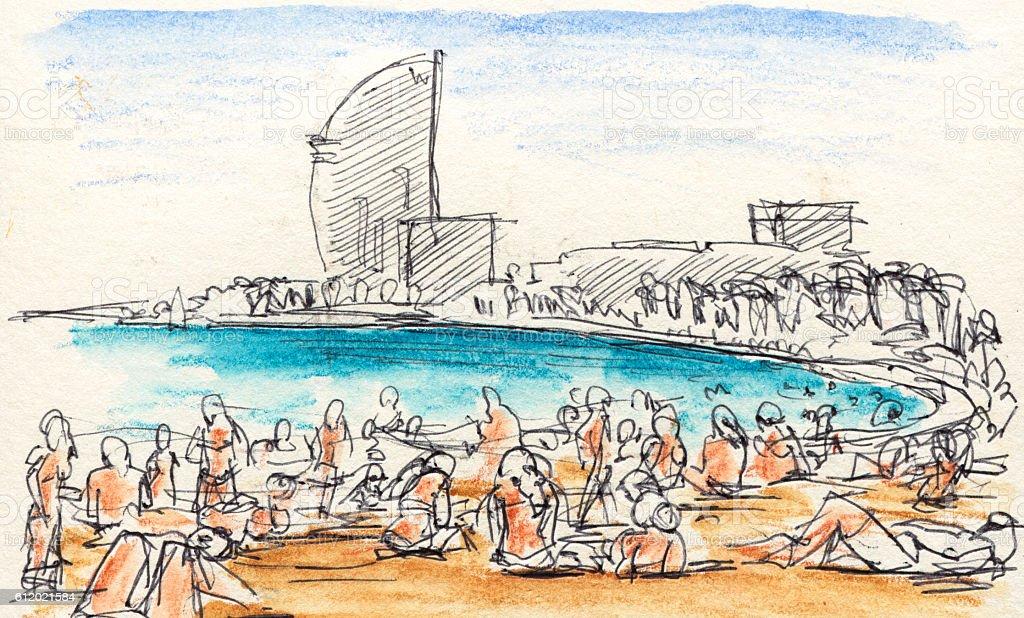 People Sunbathing At Barcelona Beach Drawing vector art illustration