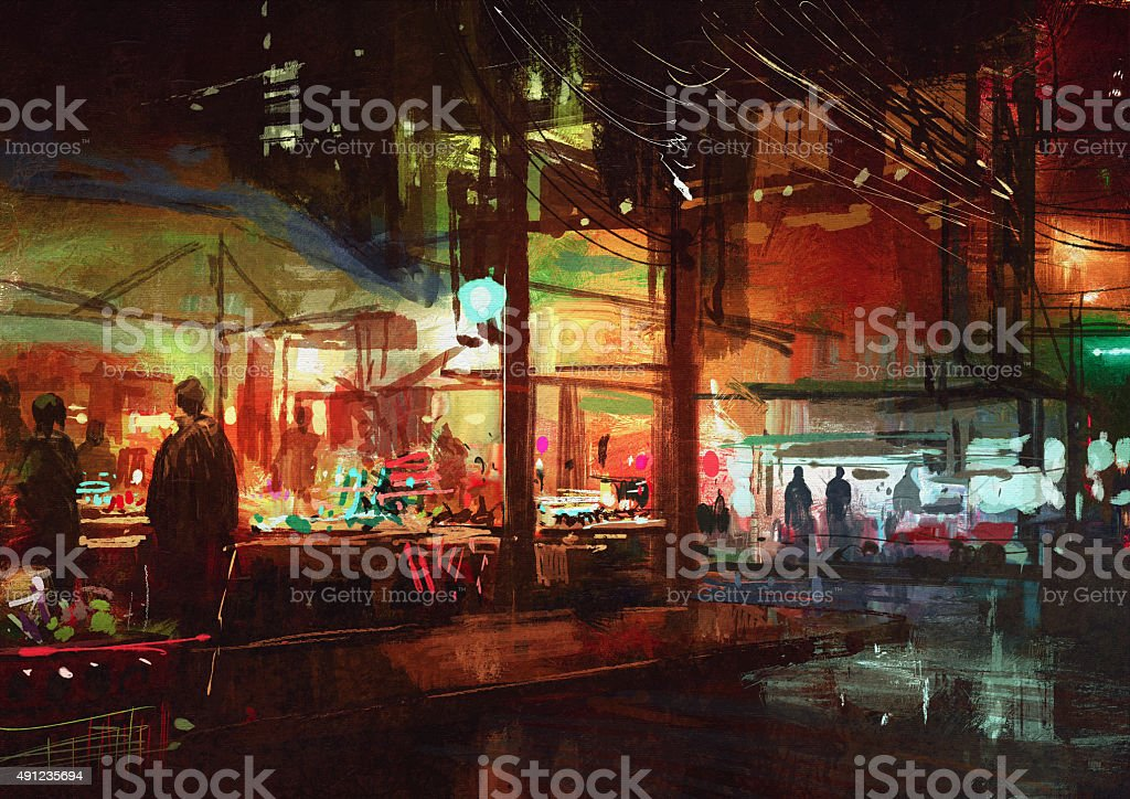 people walking in the market at night vector art illustration