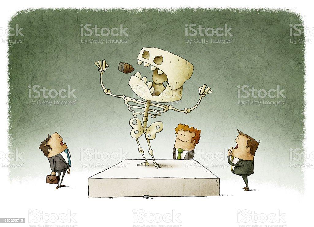 people watching an extinct boss vector art illustration