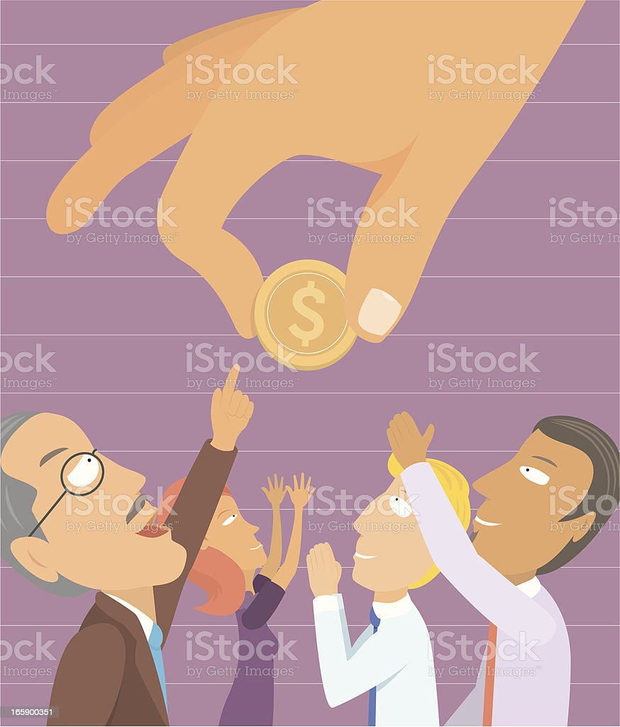 People yearning for money royalty-free stock vector art