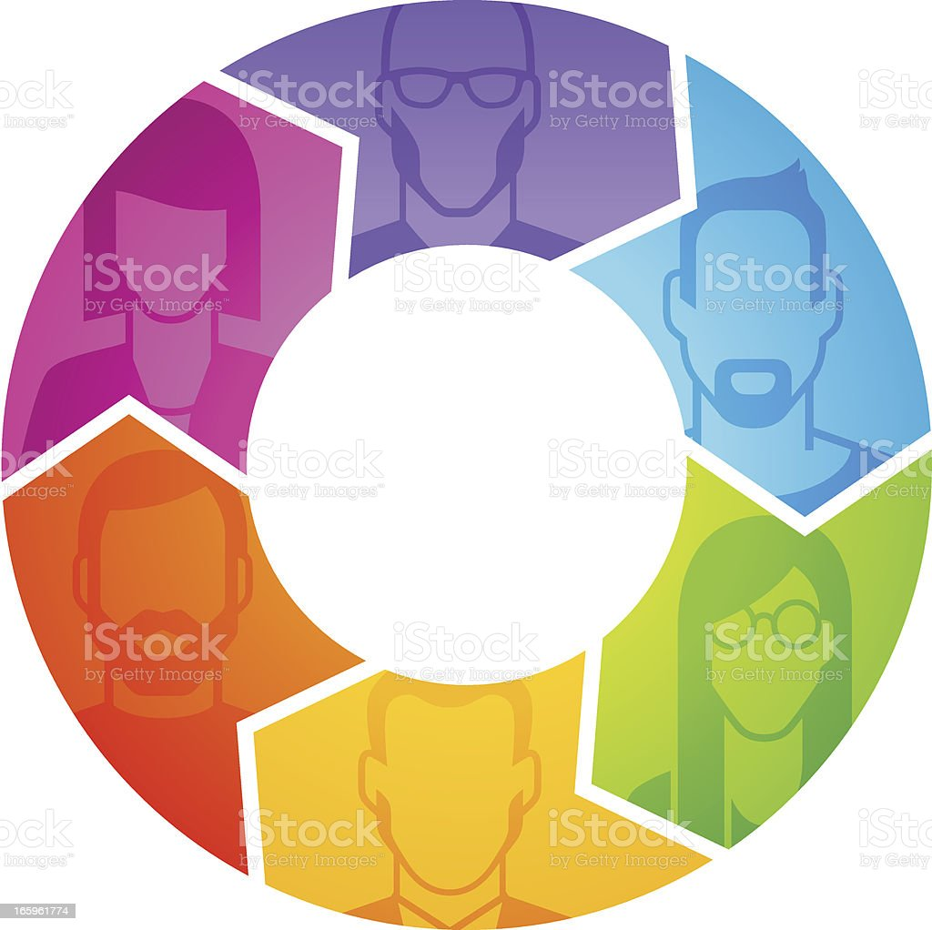 People's profile in arrows royalty-free stock vector art