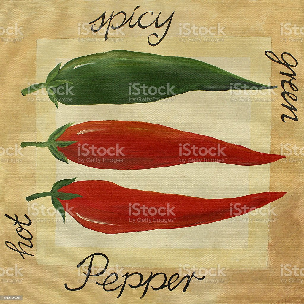 Pepper - acrylic painting royalty-free stock vector art