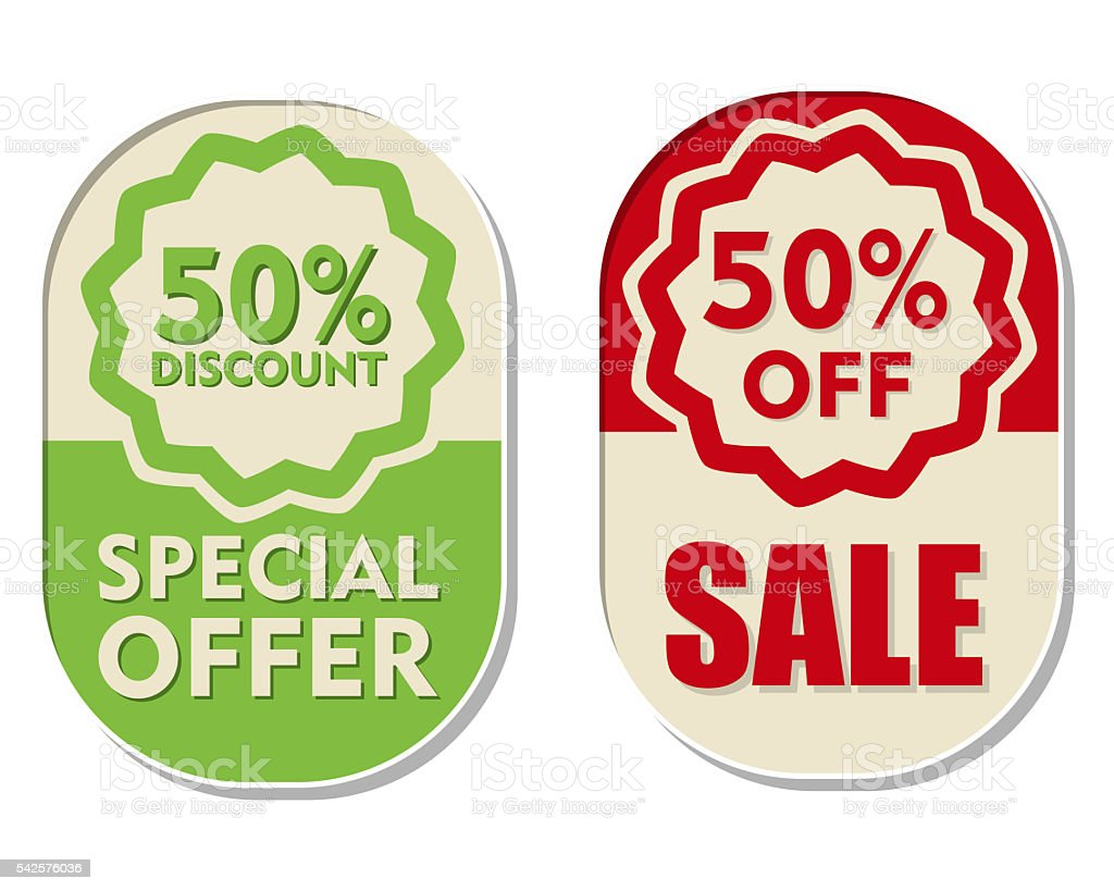 percent off discount, sale and special offer, two elliptical labels stock photo