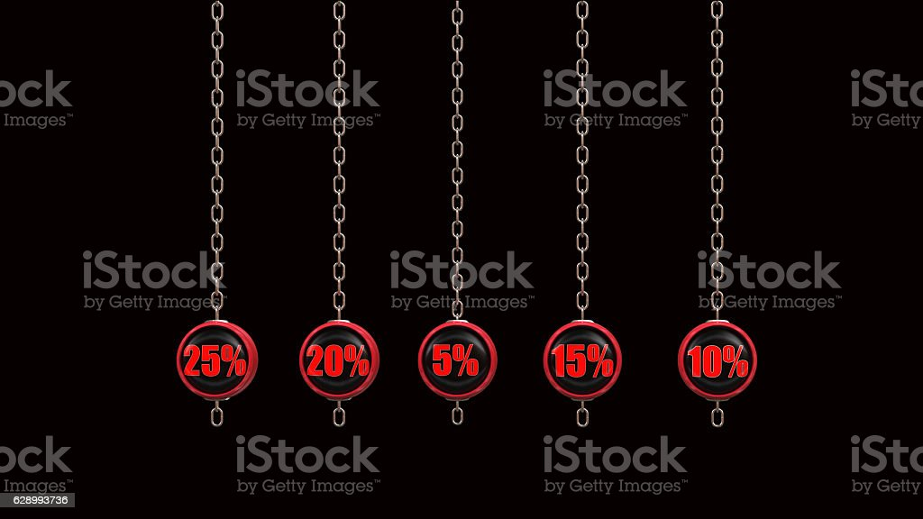 Percentage Numbers Series  3d rendering vector art illustration