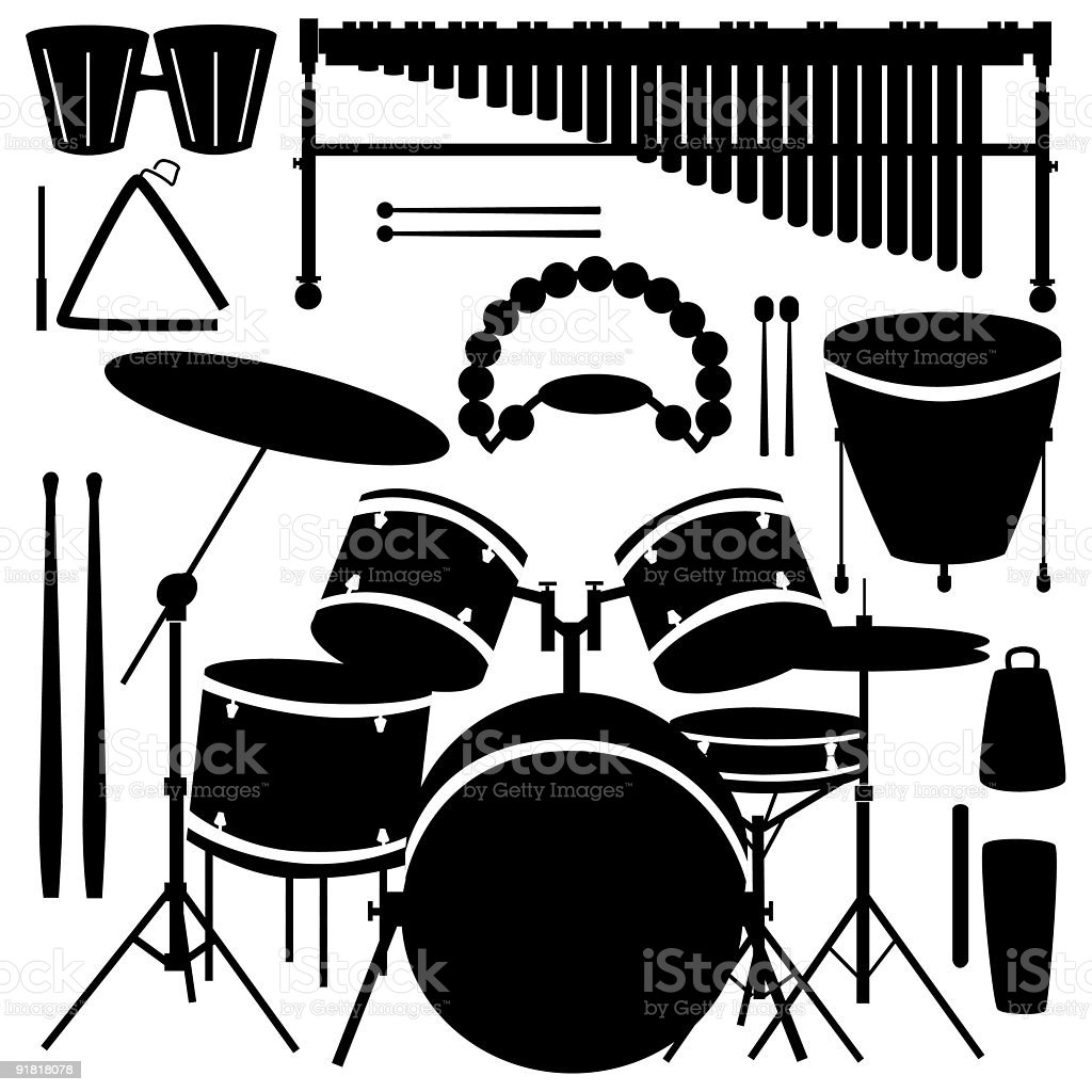 Percussion musical instruments royalty-free stock vector art