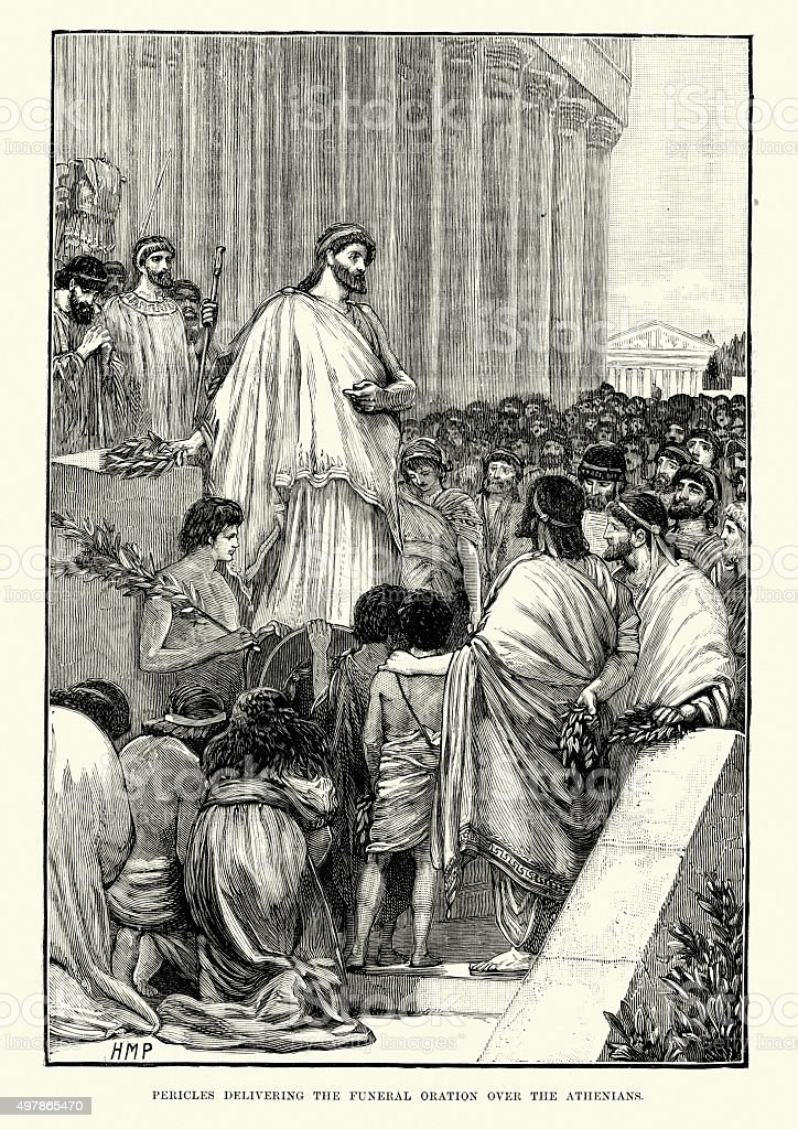 Pericles delivering the funeral oration over Athenians vector art illustration