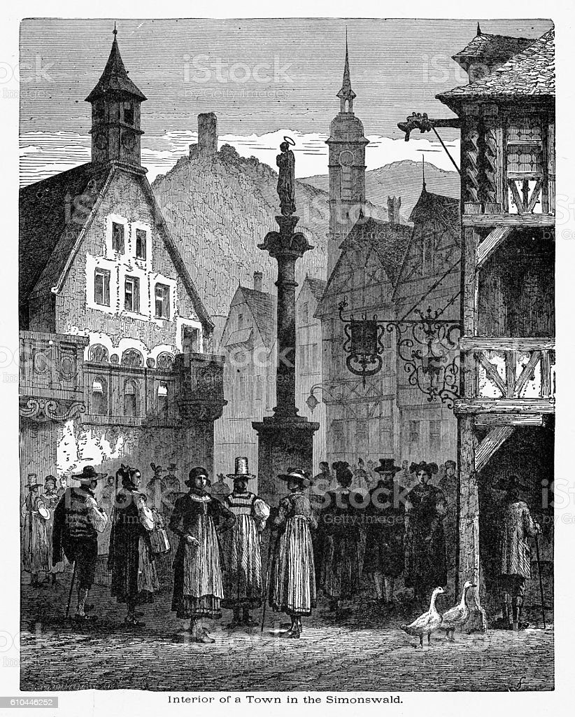 Period Clothing in the Village of Simonswald, Germany Circa 1887 vector art illustration