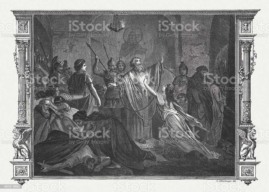 Persecution of Christians in ancient Rome, published in 1878. vector art illustration