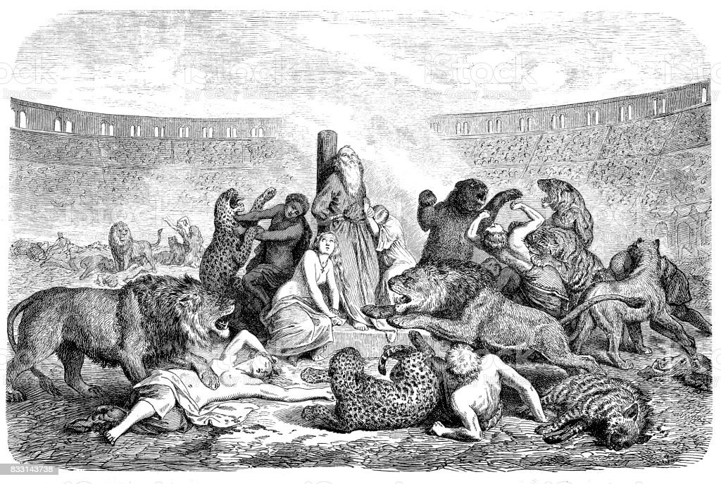 Persecution of Christians, victims of predators in the circus of Rome vector art illustration