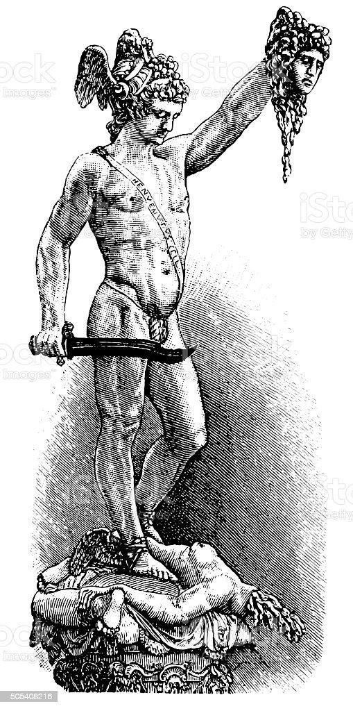 Perseus and Medusa vector art illustration