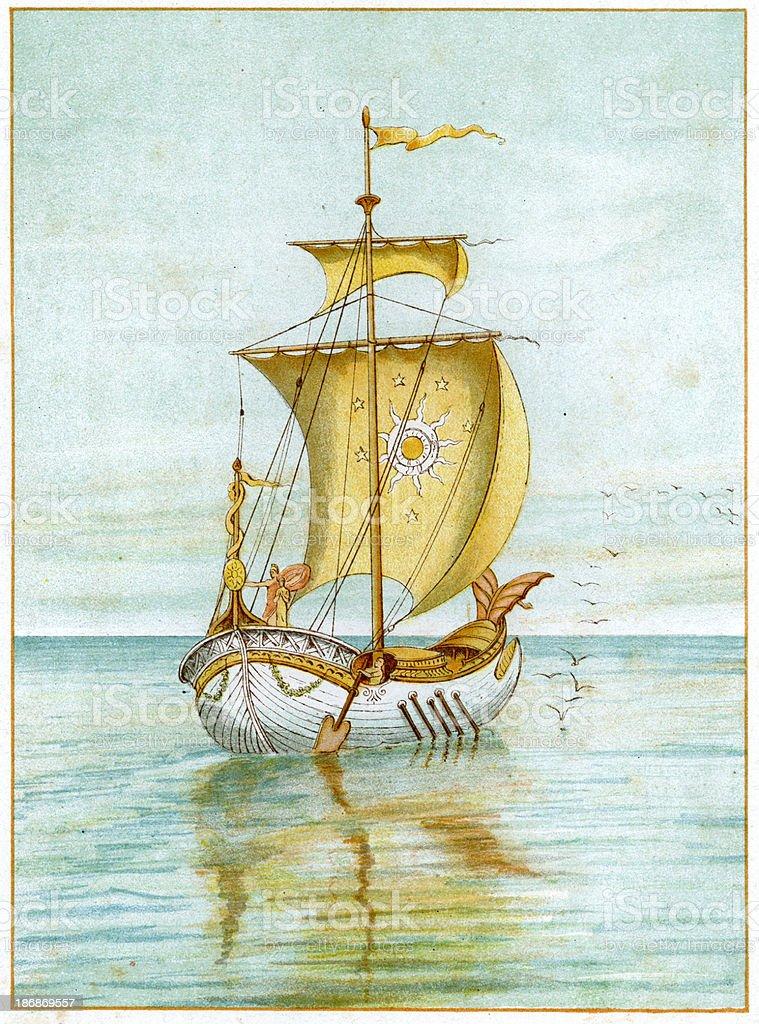 Perseus at Sea royalty-free stock vector art