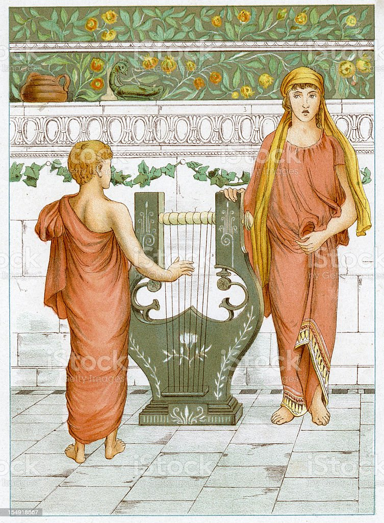 Perseus learing to play the Lyre vector art illustration