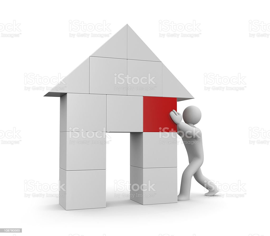Person build house vector art illustration