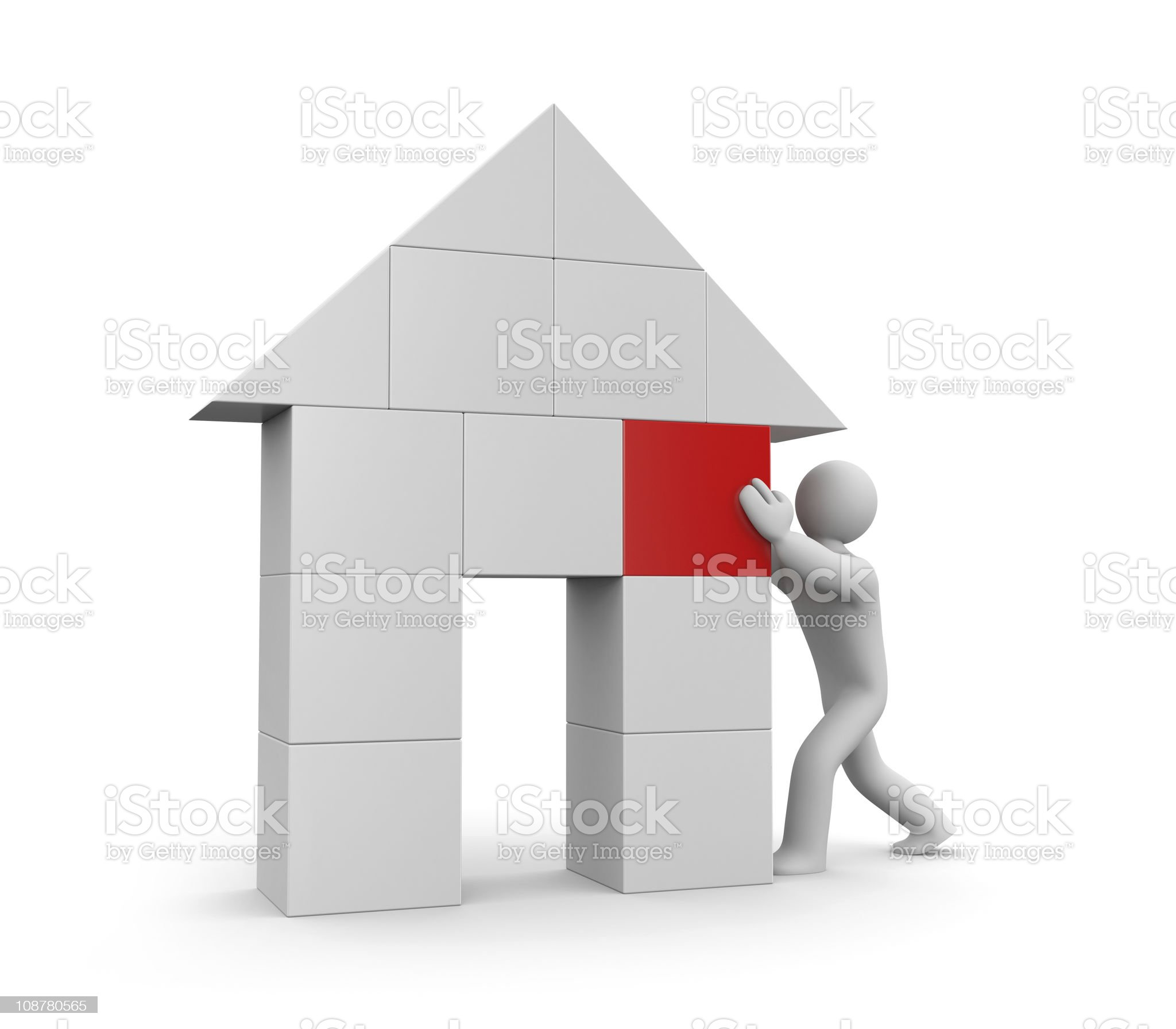 Person build house royalty-free stock vector art
