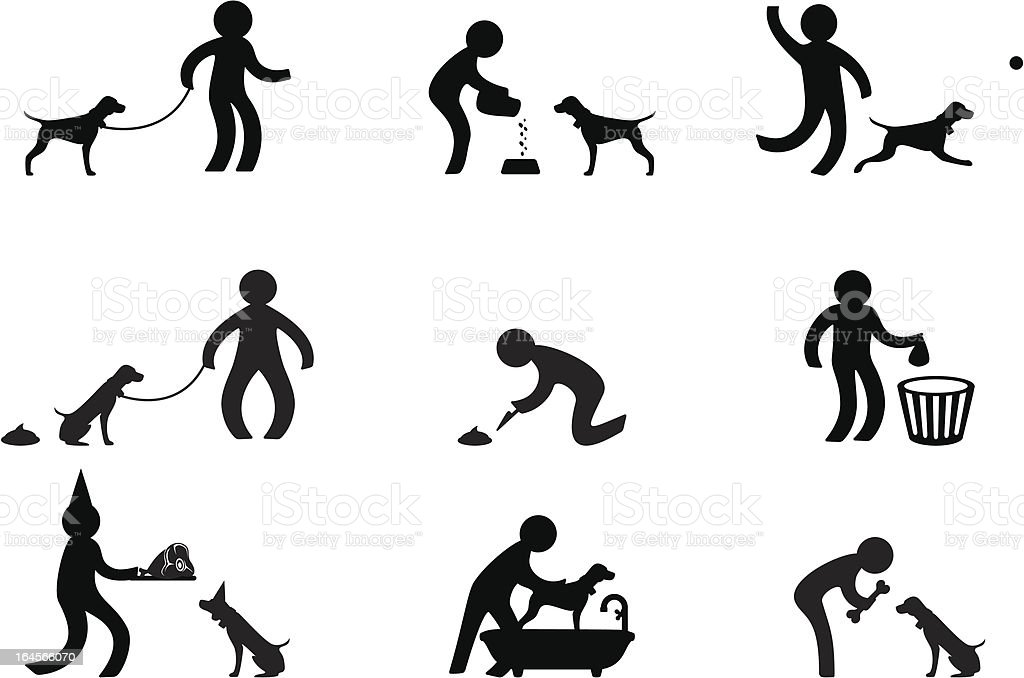 Person playing with dog vector art illustration