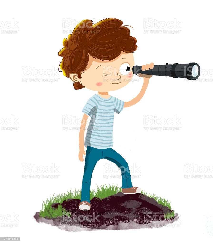 Person with a spyglass or telescope vector art illustration