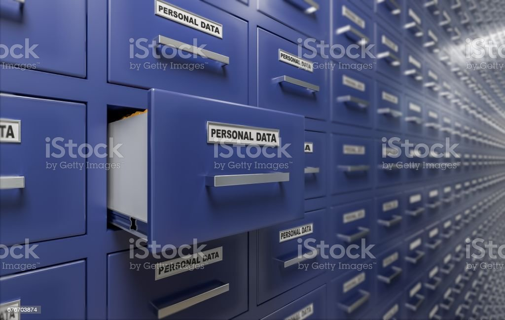 Personal data protection and privacy concept. A lot of cabinets with documents and files. 3D rendered illustration. vector art illustration