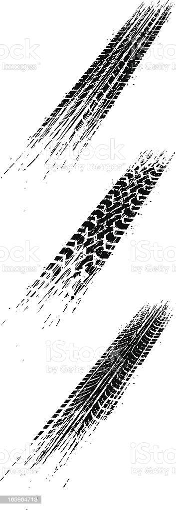perspective skid marks vector art illustration