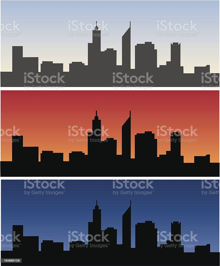 Perth skyline- daytime, sunrise and dusk royalty-free stock vector art