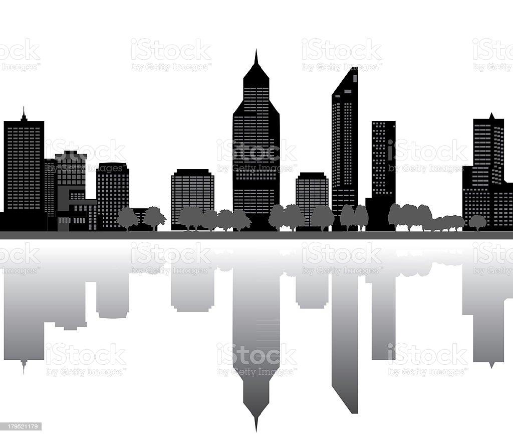 perth skyline vector art illustration