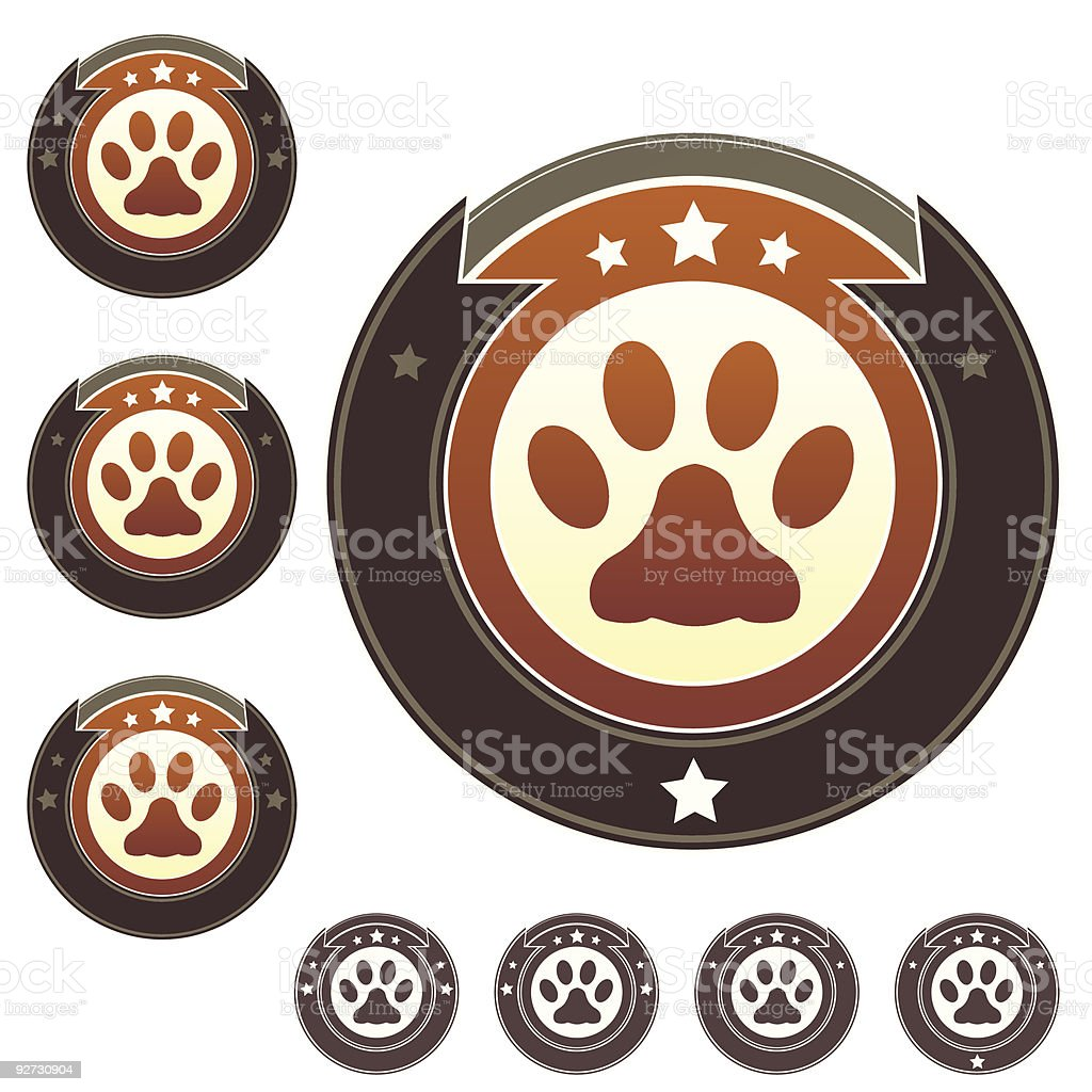 Pet product or cruelty free food label sticker royalty-free stock vector art