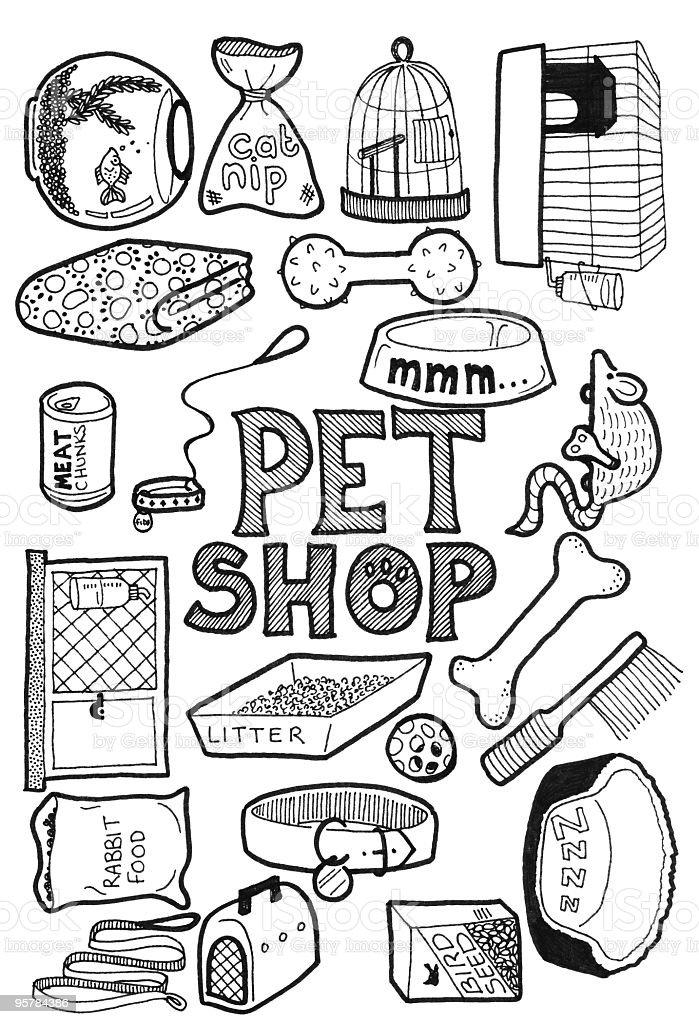 Pet Shop Doodles stock vector art 95784386   iStock