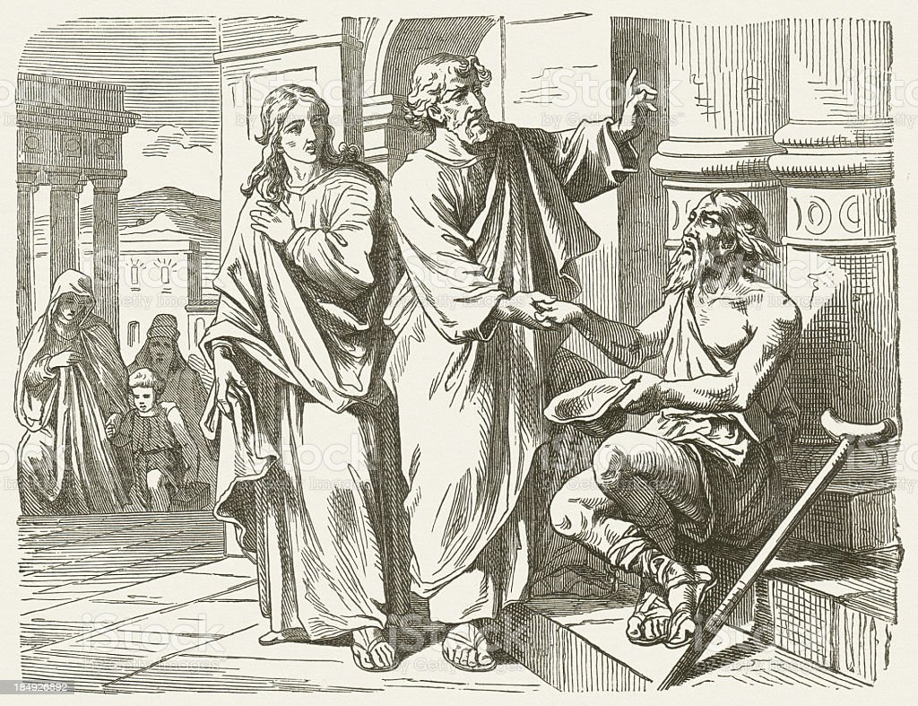 Peter and John heal the lame (Acts 3), published 1877 royalty-free stock vector art