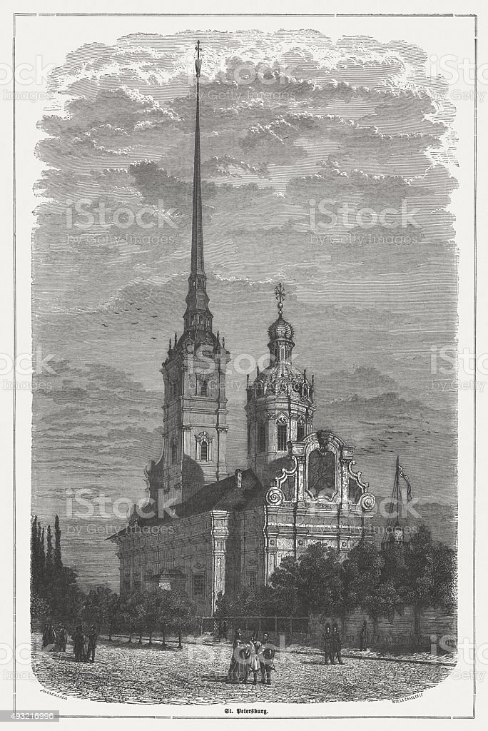 Peter and Paul Cathedral in Saint Petersburg, published in 1871 vector art illustration
