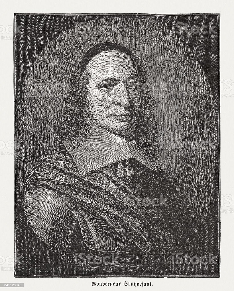 Peter Stuyvesant (1612-1672), wood engraving, published in 1884 vector art illustration