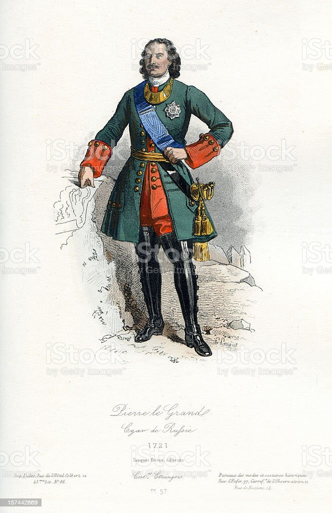 Peter the Great Czar of Russia royalty-free stock vector art