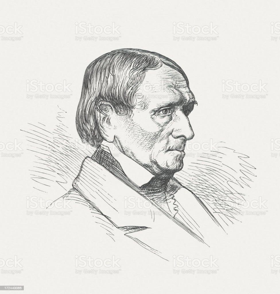 Peter von Cornelius (1783-1867), German painter, wood engraving, published 1882 royalty-free stock vector art