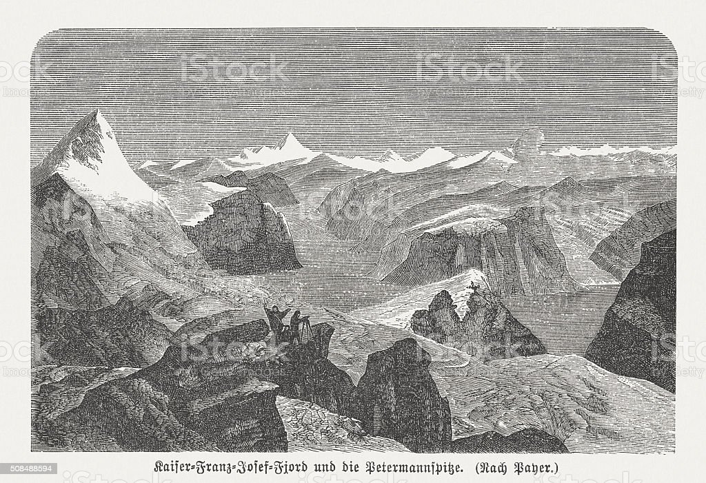 Petermann tip, Greenland, wood engraving, published in 1882 vector art illustration