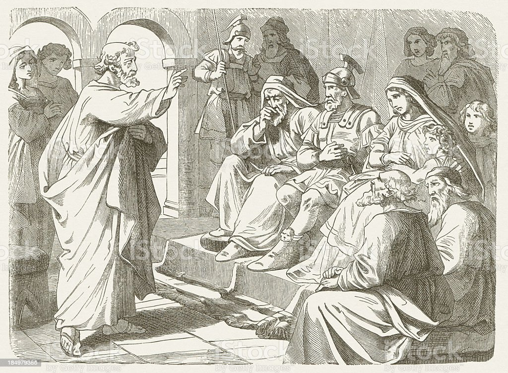 Peter's sermon at Cornelius (Acts 10), wood engraving, published 1877 royalty-free stock vector art