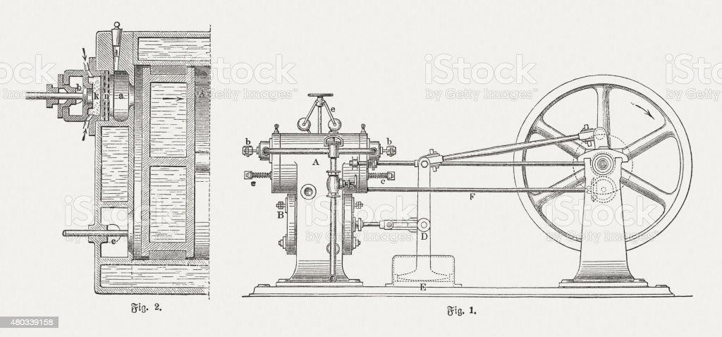 Petroleum engine (1876), published in 1880 vector art illustration