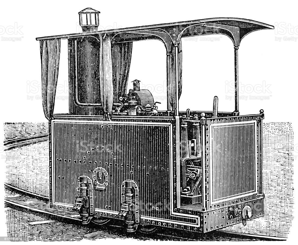 Petroleum Lokomobile vector art illustration