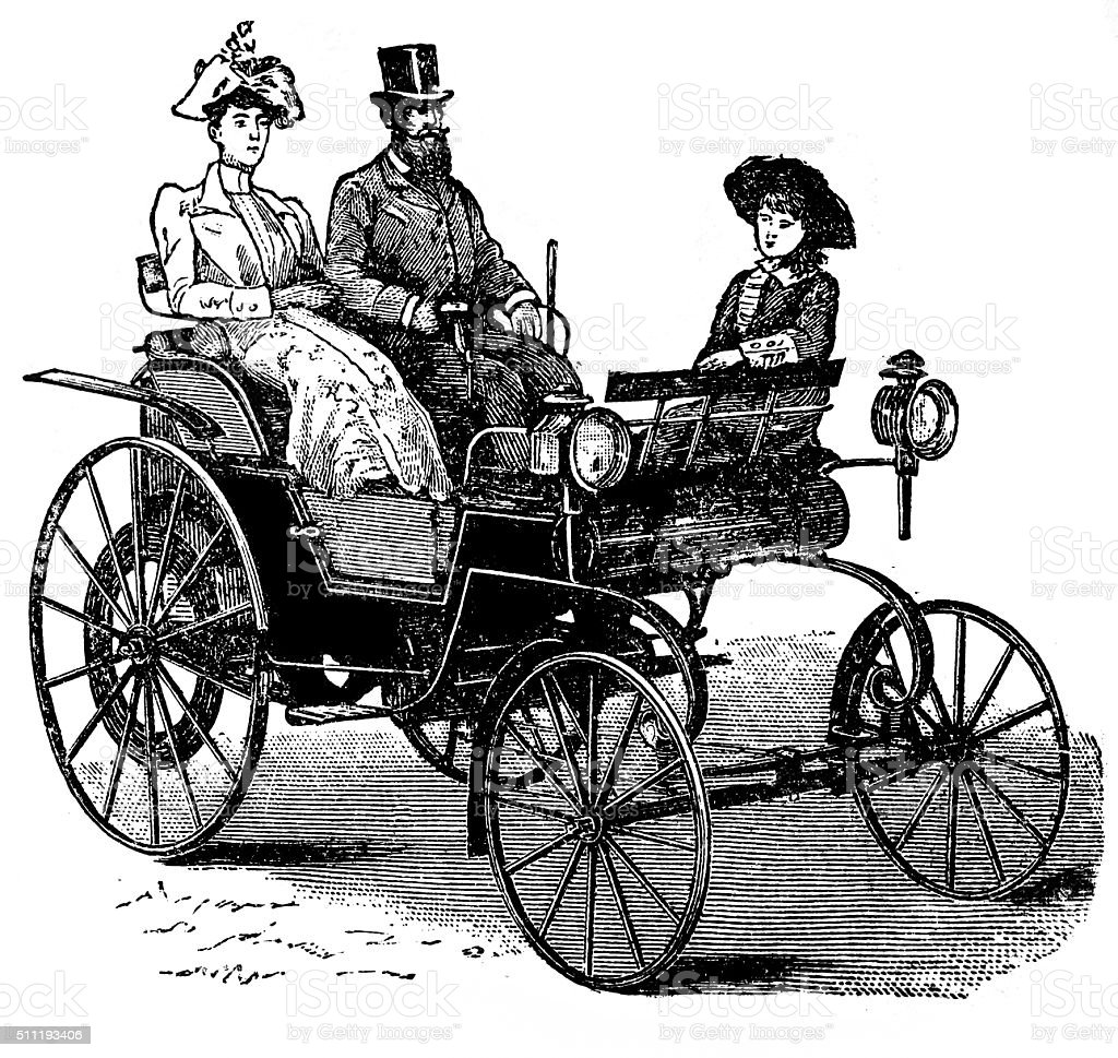 Petroleum motor coach of Daimler vector art illustration