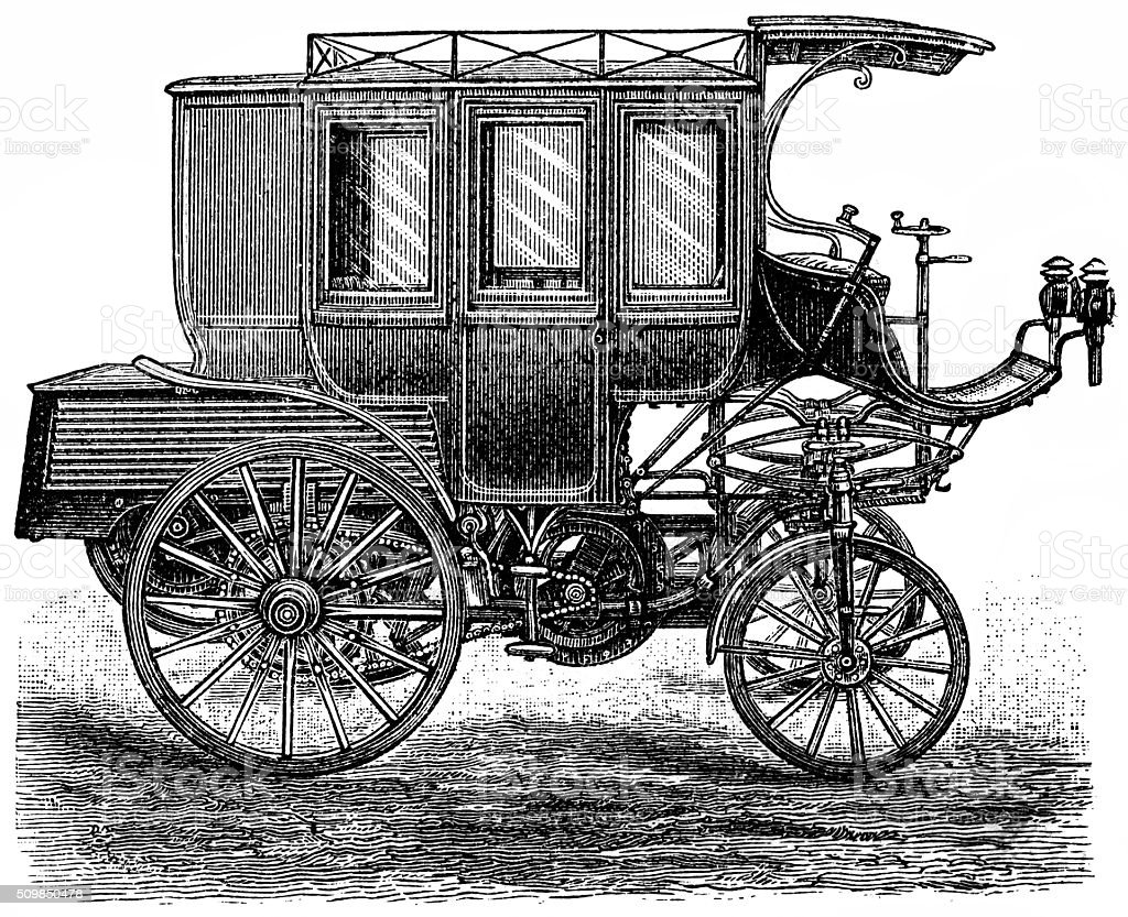 Petroleum motorcar as stagecoach vector art illustration