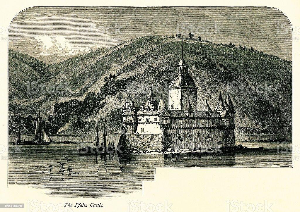 Pfalzgrafenstein Castle, Germany I Antique European Illustrations vector art illustration