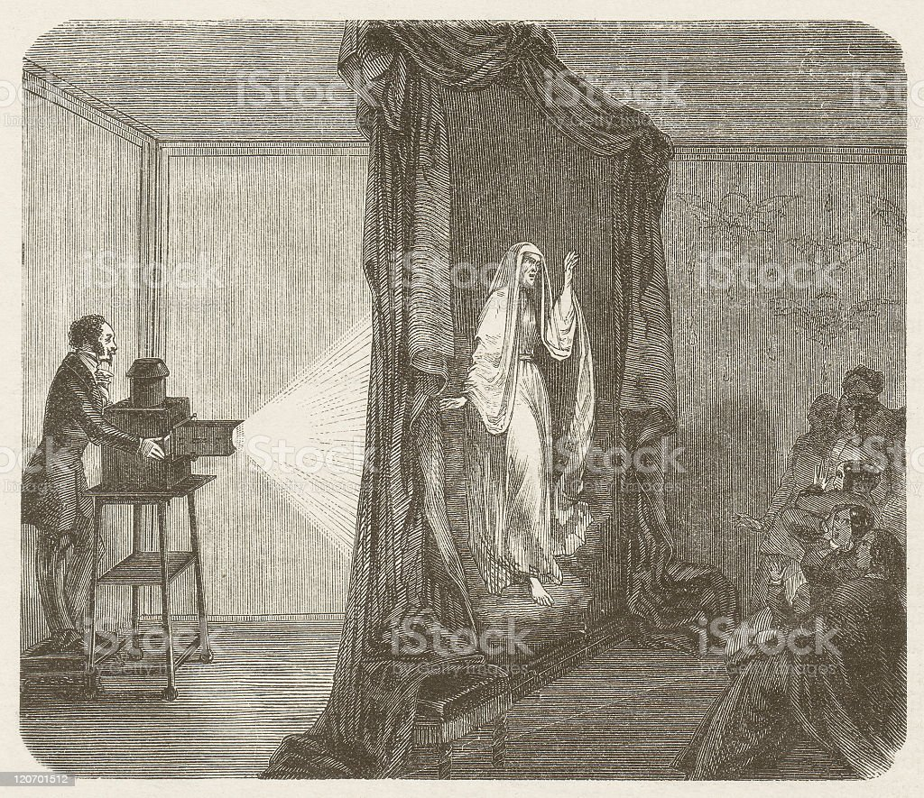 Phantascope by Etienne Gaspard Robertson (1763-1837), wood engraving, published 1877 royalty-free stock vector art