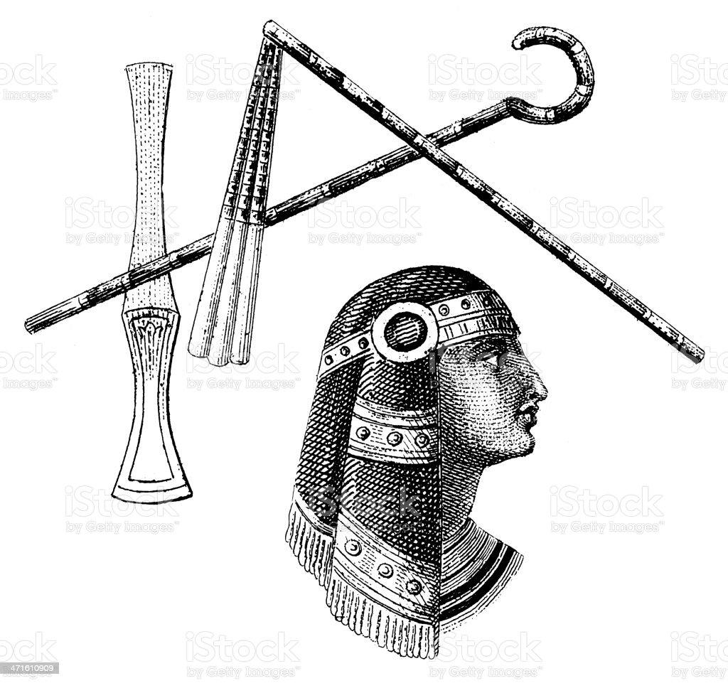 Pharaoh head and royal symbols, ancient Egypt royalty-free stock vector art