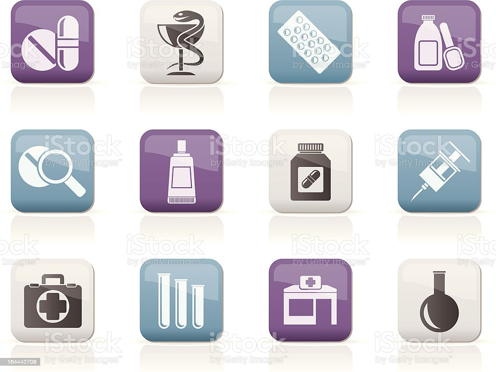 Pharmacy and Medical icons royalty-free stock vector art
