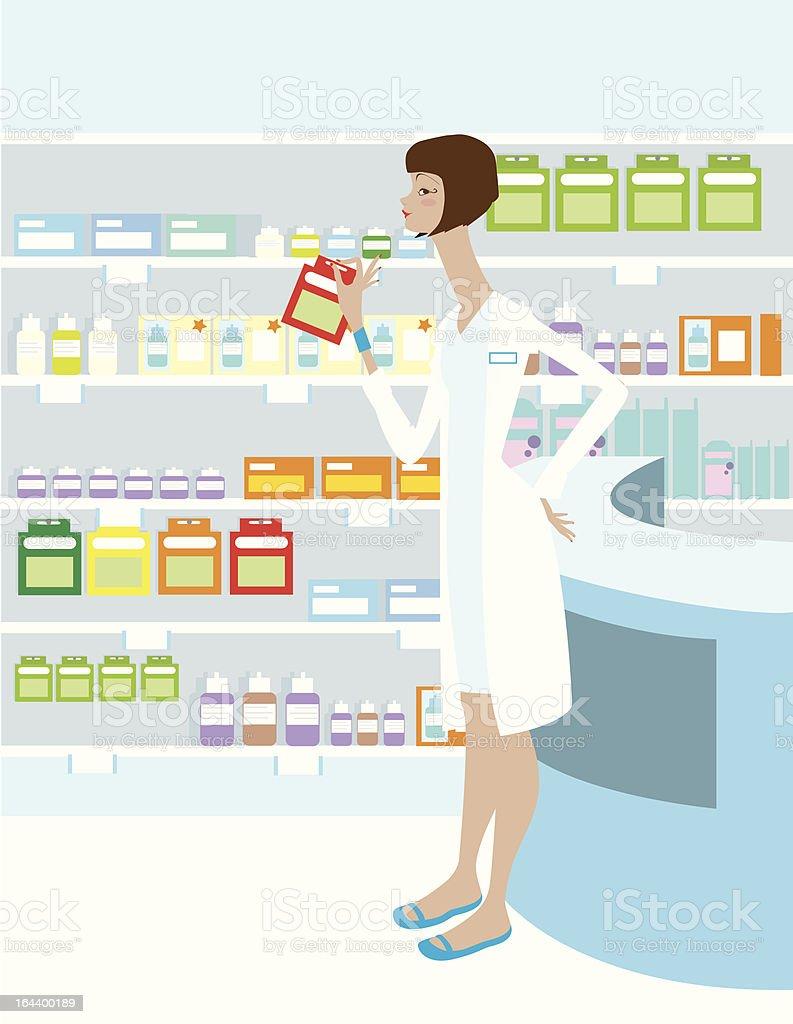 Pharmacy with Pharmacist royalty-free stock vector art