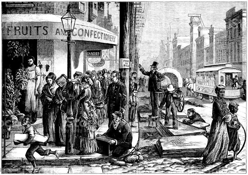 Philadelphia Centennial Festival Street Scene, 1876, Illustrated London News vector art illustration