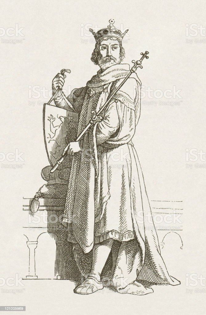 Philip of Swabia (1177-1208) Roman-German King, wood engraving, published 1881 vector art illustration