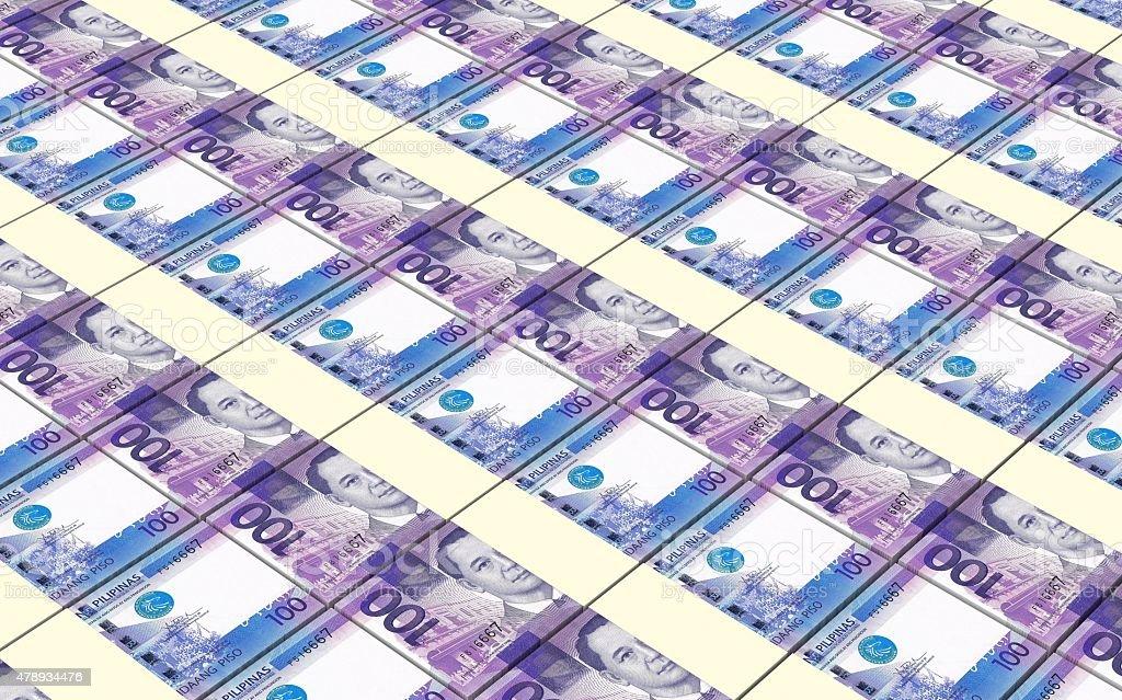 Philippines peso bills stacks background. vector art illustration