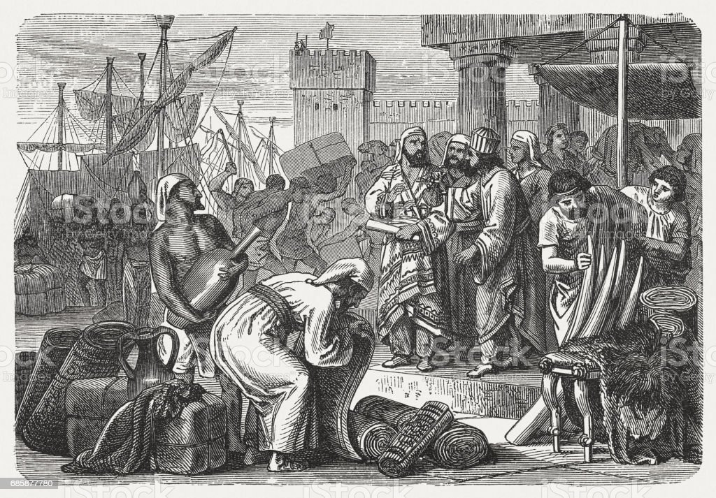 Phoenician merchants of antiquity, wood engraving, published in 1880 vector art illustration