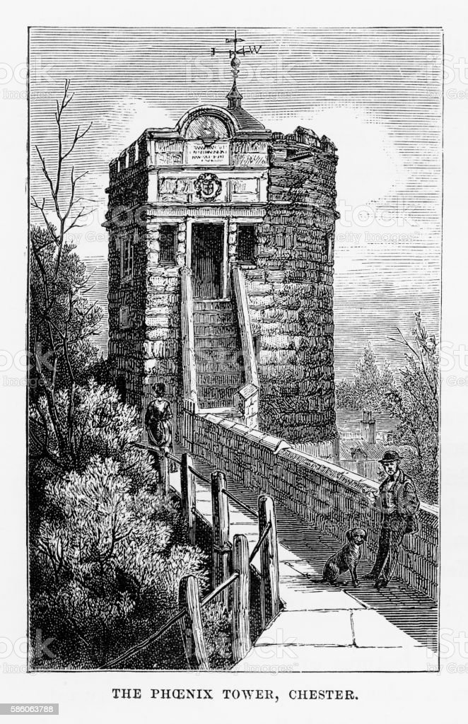 Phoenix Tower in Chester, Wales Victorian Engraving, Circa 1840 vector art illustration